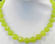 Pretty! 8mm Faceted Peridot Round Jade Gem Beads Gemstone Necklace 18""