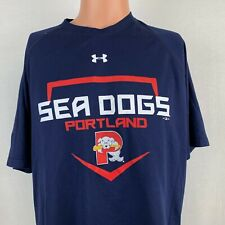 Under Armour Portland Sea Dogs Heat Gear T Shirt MILB Boston Red Sox Blue Size L
