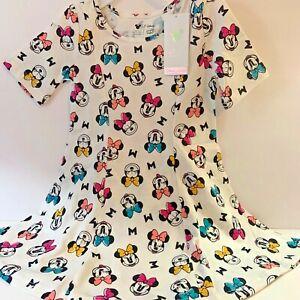 Disney Toddler Girls Dress 2T Minnie Mouse Cotton White Short Sleeve New