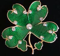"ST PATRICKS PATTY'S DAY IRISH LEPRECHAUN SHAMROCK CLOVER FLOWER PIN BROOCH 1.5"""