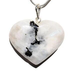 "CHARGED Rainbow Moonstone Crystal Heart Pendant + 20"" Chain & Selenite Heart"