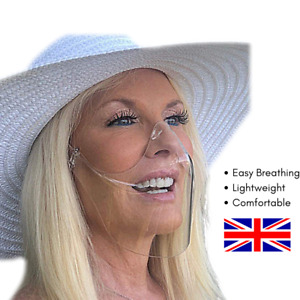 UK Face Cover Mouth Shield Visor Adjustable Anti-Fog Anti-Saliva M/L KF-Premium