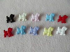 10 x MULTI-COLOURED DOG (Poodle) BUTTONS ~ Size: 18mm x 20mm CHILDREN/CRAFT