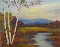 Old Miniature Original Autumn Landscape Oil Painting Birch Trees Stream 9.75x7.5