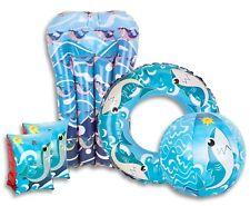 Boys Blue Shark Inflatable Swimming Pool Set Armbands Ring Float & Beach Ball UK