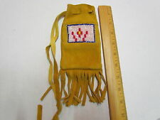 NATIVE AMERICAN BEADED MOOSE HIDE POUCH WITH TASSELS - 3 INCHES X 6 INCHES