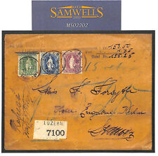 Ms2202 1893 Switzerland High rate 3-Colour Franking * THOS COOK * registered cover