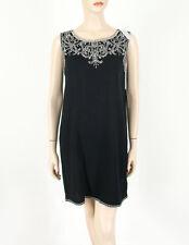 Ella Moss Sleeveless Embroidered Shift Dress Black White S 8483 BM7