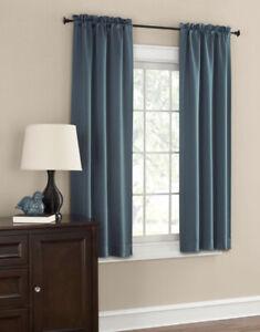 "Mainstays 63"" X 30"" Room Darkening Panel Pair, 2 Panels, Teal, Energy Efficient"