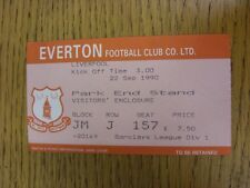 22/09/1990 Ticket: Everton v Liverpool [Football League Runners Up] . Thanks for