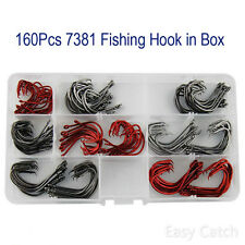 160pc Assorted Fishing Hooks High Carbon Steel Sport Circle Hook 7381 Size1#-5/0
