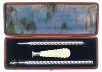 Sampson Mordan propelling pencil, dip pen and desk seal boxed set. C1860