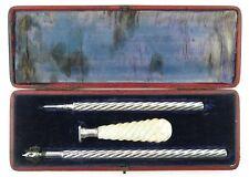 Sampson Mordan propelling pencil, dip pen and desk seal boxed set. C1860