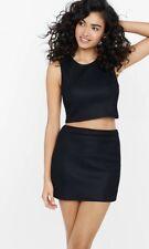 EXPRESS L BLACK HONEYCOMB CROPPED TANK cutout back sleeveless textured shirt top