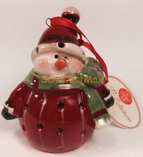 Christmas Ornaments LED Light Red Round Snowman Green Scarf Stripe Hallmark