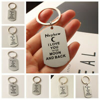 I LOVE YOU TO THE MOON AND BACK Keyring Gift Mum Dad Family Keychain Xmas Gift