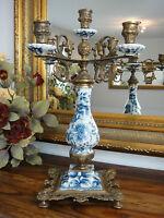 Kandelaber Porzellan Bronze Luxus Kerzenleuchter Kerzenständer Antik Barock Edel