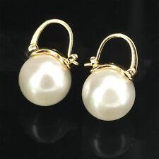 Boucles d'Oreilles Dormeuse Doré Perle Blanc Class Plaqué Or QD4