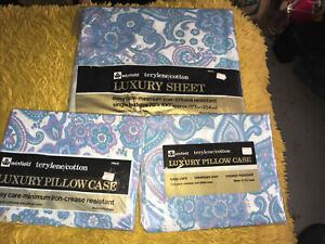 Vintage Winfield Woolworths Terylene/cotton Single Fitted Sheet Pillow Case x 2