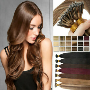 """14""""-24"""" 1g Nano Ring Tip Micro Bead Halo Remy Human Hair Extensions Double Drawn"""