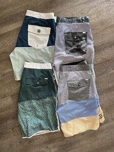 Vuori Cruise Boardshorts Size 33 - Lot of 4: Camo / Blue / Grey / Green / Stripe