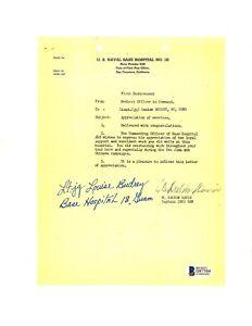 Louise Budrey Signed Appreciation Document BAS D87504 USS Indy Rescue Nurse