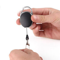 Metal Retractable Key Chain Card Badge Holder Steel Recoil Ring Pull Belt Clip L