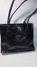 BLACK GUESS LIZARD SHOPPER TOTE HAND BAG SHOULDER PURSE LARGE BUCKET WORK LAPTOP