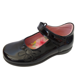 Petasil Bonnie F Width Girls Black Patent Leather School Shoes