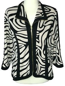 Chico's Collection size 1 top jacket black tan zebra print zip front stretch