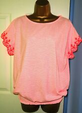 ✿NEW Ladies PRINCIPLES bright pink stretch bubble hem striped top blouse size14✿