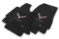 2014-2019 C7 Corvette Jet Black Floor Mats Set - Crossed Flags & STINGRAY Logos