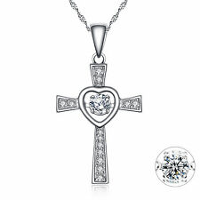 Sterling Silver Round Cut AAA CZ Cross Dancing Pendant Necklace