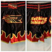 RDX Muay Thai Satin Shorts L Black Red Gold Grappling MMA Kickboxing NWT