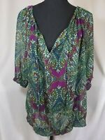 Brand New Womens 1X Shirt w/ Tags Carole Little Paisley Print 3/4 Sleeve V-neck