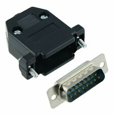 15-Way D Sub Connector Male Plug with Black Hood Cover