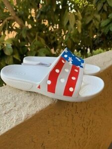 Crocs USA Flag Slides Sandals New 5 Mens 7Womens American NEW