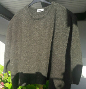 nook: Designer-Pullover, boucle-Strick, dunkles Moosgrün, Lagenlook, wie neu,