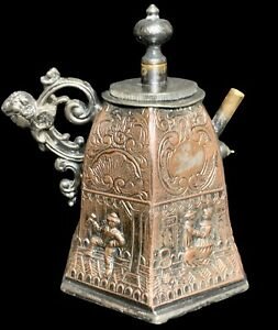 """Antique Cross London Silver-Plated Inkwell Vessel Stopper Embossed Copper 3.5"""""""