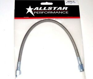 """Braided Stainless Steel Brake Line Hose 12"""" 3 An Straight End 12 inch Length"""