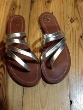 TORY BURCH Patos Flat Sandals Spark Gold 9.5