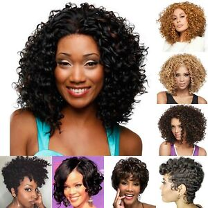 Women's Afro Kinky Curly Hair Wigs Pixie BOB Style Cosplay Party Wavy Full Wigs