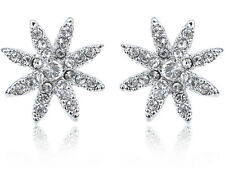 Petite Dainty Crystal Elegant Flower Fashion Button Earrings Xmas Gifts Jewelry
