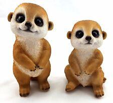 Meerkat Ornament Pair Cute Statue Figurine Ornament Sculpture Garden *Set of 2*