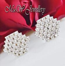 Solid 925 Silver Rhodium Plated HEXAGON Stud Earrings Clear Cubic Zirconia