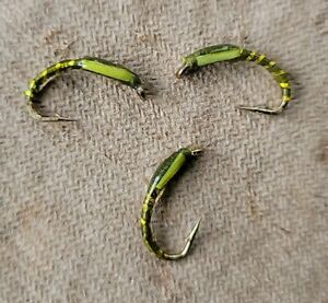 3 OLIVE epoxy Buzzer OLIVE cheek Trout Grayling Fly Fishing Fly #12