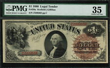 1880 $1 Legal Tender FR-28a - Large Brown Spiked Seal - Graded PMG 35 - RARE!