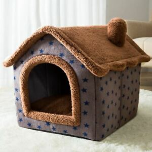 Pet Dog Cat House Beds Kennel Indoor Raised Tent Cushion Mat Chimney House S,M