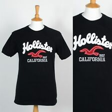 HOLLISTER MENS T-SHIRT TOP BLACK CALIFORNIA GRAPHIC LOGO CASUAL S