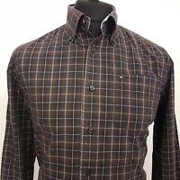 Tommy Hilfiger Mens Shirt MEDIUM Long Sleeve Brown Custom Fit Check Cotton